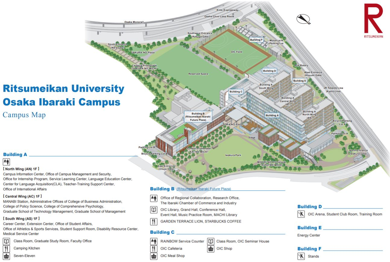 Map of Ritsumeikan University Osaka Ibaraki Campus